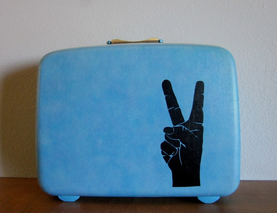 VINTAGE blue samsonite SUIT CASE with hand painted peace sign - Spread It