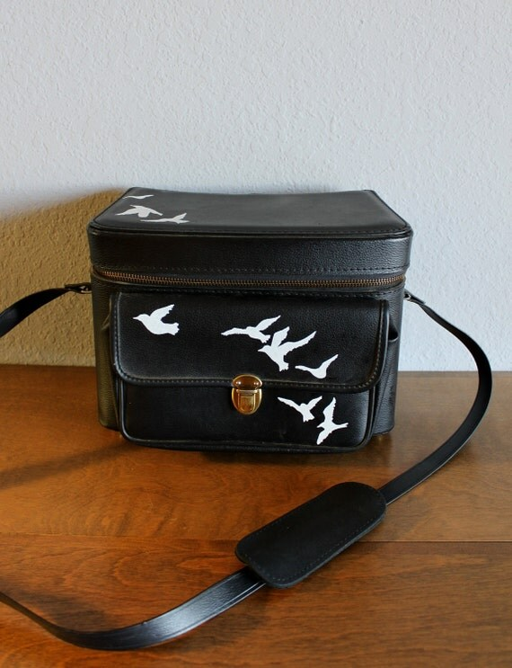 Flight - VINTAGE black camera case with hand painted birds