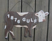 Brown Cow Sign - Address - Wood
