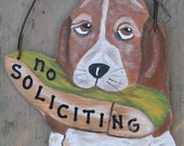 No Soliciting Sign Basset Hound - Hand Painted Wood