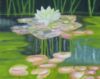 LILY POND Original Acrylic Painting 10X10
