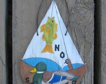Sailboat No Soliciting Sign - Hand Painted Wood