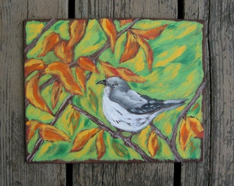 Mocking Bird Wood Wall Art - Original Acrylic Painting 8 X 10