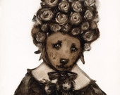 Dog in a Flower Bonnet - 8 x 8 Print