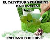 Bath Salts 16 oz. - Eucalyptus Spearmint Scent -  Pure Essential Oils - Bath Salts - Bath And Body Products - Aromatherapy - Sea Salt Bath