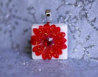 Birthstone Pendant - Jewelry Pendants - Ceramic Tile -  Synthetic Red Garnet Pendant -  January Birthday -  Birthday Gifts
