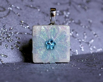 Birthday Pendant - Jewelry  Pendants - Ceramic Tile -  Aquamarine Pendant  -  Birthday Pendants - Birthday Gifts -  FREE GIFT WRAPPING