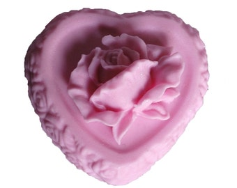 Shabby Chic  Rose Soap -  Vegan Soaps - Organic Soaps - Decorative Soap - Pink Heart Soaps  -   Moisturizing Soap  -  Fragrance Oil Plumeria
