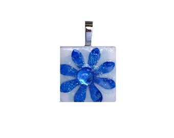 Birthstone Pendant - Jewelry Pendants - Ceramic Tile -  Synthetic Sapphire Pendant - September Birthday  - Birthday Gifts