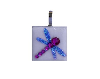Dragonfly Pendant - Jewelry  Pendants - Ceramic Tile - Dragonflies -  Dragonfly Necklace Pendant - Gift -  FREE GIFT WRAPPING