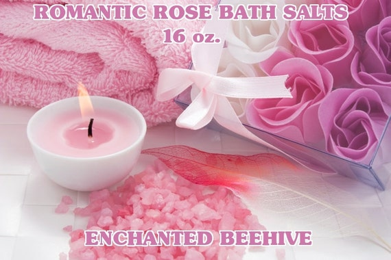 Bath Salts 16 oz - Romantic Rose Scent -  Aromatherapy  -  Skin Care  -  Bath And Beauty  -  Pure Essential Oils -  Bath Products