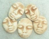 6 ooak ceramic bisque faces