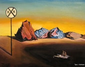 Railroad Station to Nowhere, 2011, Acrylic on Canvas. Homage to Dali, by Tye J. Schloer