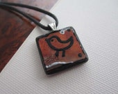 SALE- Bird pendant - red and black- free shipping
