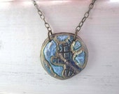 Map pendant - round sky blue eco-friendly necklace - Made to order