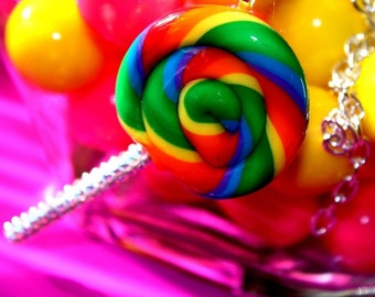 Kawaii Lollipop Luxe - Candy Resin Necklace - Candy Glam Collection Swarovski Crystals Rainbow - Kawaii Kitsch
