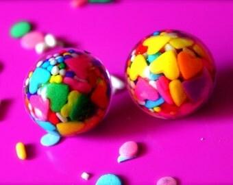 Kawaii Candy Resin Earrings - Sprinkle Resin Jewelry - Kawaii Jewelry - Rainbow Jewelry - Candy Jewelry - Kitsch Jewelry