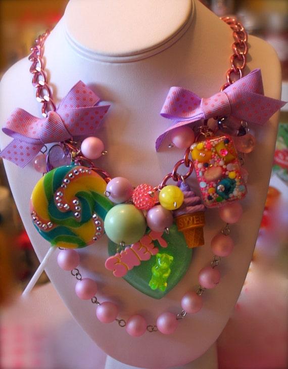 Sweetheart Sugar Shock Gummi Bears and Candy Drops Charm Necklace - Kitsch Kawaii - Candy Glam