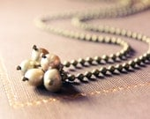 TINY wire wrapped necklace - champagne freshwater pearls - antiqued brass - vintage look - neutral colors.
