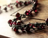 GAIA garnet necklace - gemstone necklace - macrame knotted cord - dark red wine - january birthstone - hand knotted necklace.