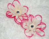 White Hair Flowers with Sheer Hot Pink Ribbon Loops and Sparkle Jewel Centers