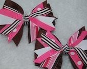 Chocolate Strawberry 4 inch Spikey Hair Bows So Cute Set of 2 Great Gift