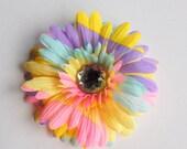 Darling Pastel Rainbow Gerbera Daisy Hair Flower with Sparkle Jewel center no slip