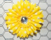 Yellow and White polka dot 4 inch Gerbera Daisy Hair Flower with Sparkle Jewel Center no slip