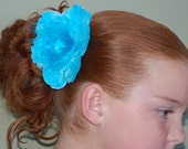 Super Cute turquoise 4 inch Feather Puff Hair Flower with layers of petals and tulle with a  feather and Jewel Center no slip