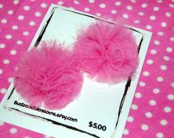 Tulle Puff Hair Bows Clips Set of 2 choose from 18 colors