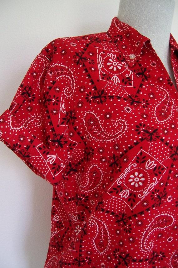 Red Bandana Print Button Down Ladies Shirt By