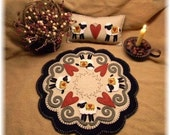 Hearts & Sheep Penny Rug/Candle Mat/shelf pillow MAILED PAPER PATTERN