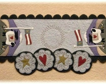 Land that I Love-Americana~Sheep Penny Rug Runner & Coasters MAILED PAPER PATTERN