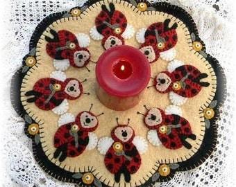 Ladybugs Penny Rug/Candle Mat pdf DIGITAL PATTERN