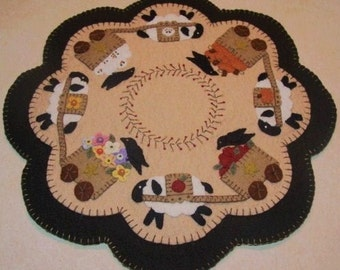Four Seasons Sheep Penny Rug Candle Mat DIGITAL PATTERN