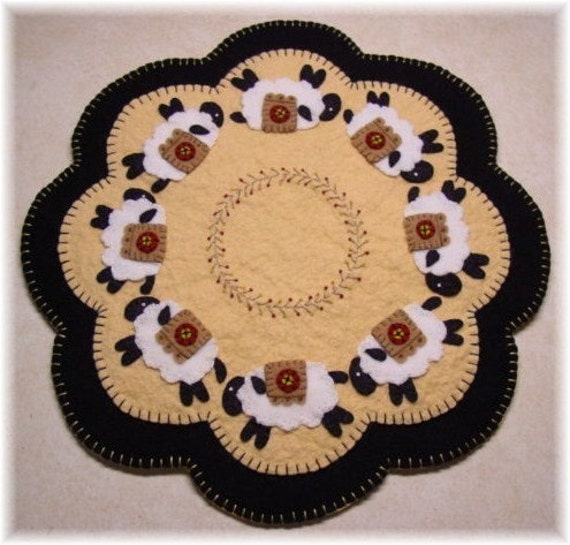 Sheep  Penny Rug Candle Mat DIGITAL PATTERN