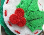 Hand Stitched Holly Snap Hair Clip