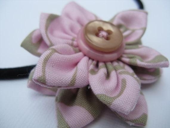 Fabric Flower Headband \/ Fascinator Hand Stitched Pink Perfection