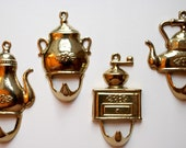 4 Vintage brass hooks for your kitchen