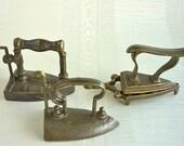 3 Miniature Brass Iron