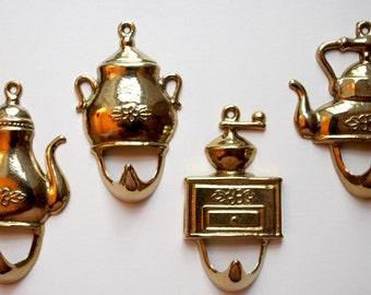 4 Vintage brass hooks for your kitchen