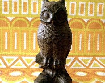 Hand Painted Iron Cast Owl