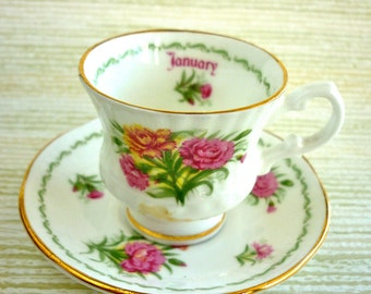 Vintage JANUARY Porcelain Tea Cup