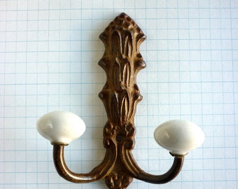 2 French Style Metal and Porcelain Hooks