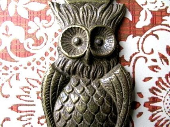 Vintage Owl on Brass Bottle Opener