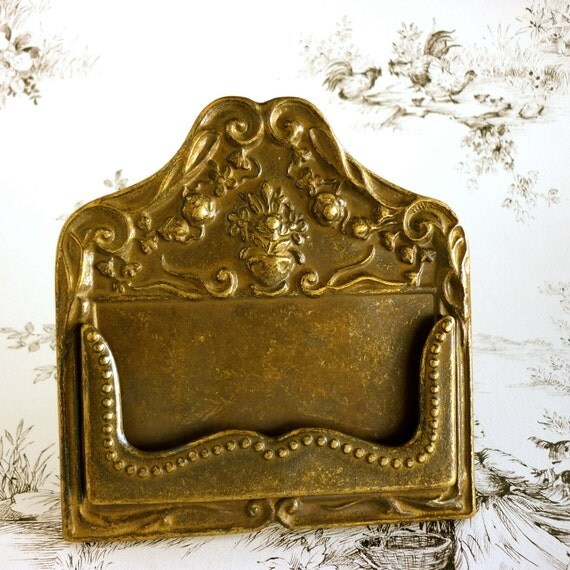 SALE Business Victorian Style Brass Card Holder