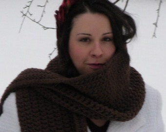 Cowl neck Scarf in Chocolate