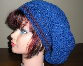 Crochet blue and purple wool Slouchy Beret