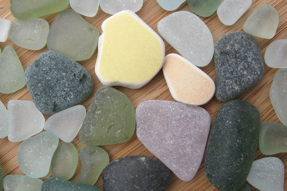 Genuine Surf Tumbled Sea Glass and Pottery Gems for Jewelry