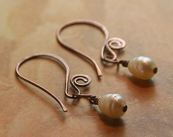 Swirls and Pearls Collection - Tiny Freshwater Pearl and Hammered Copper,  Sterling Silver or NuGold Brass - Earrings Copper Jewelry